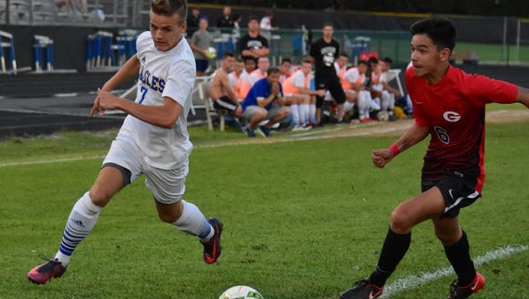 Senior Nick Gregory (7) leads Eastside in goals and