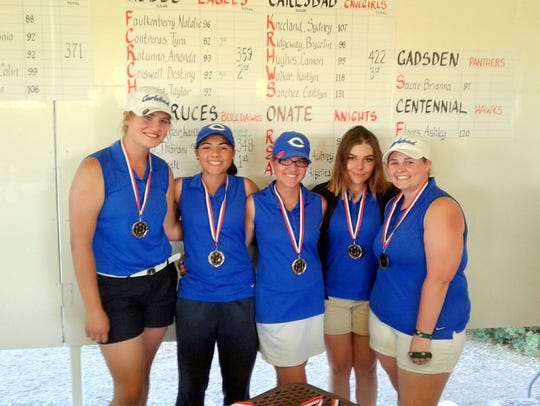 The Cavegirls took third at the District 3-6A championships