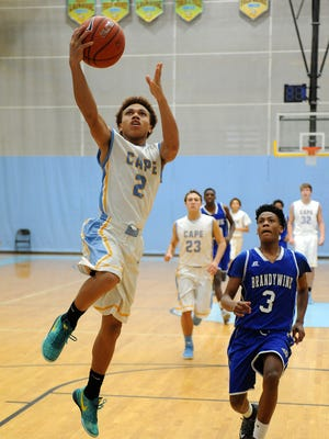 Demetrius Price of Cape scores two points as Cape Henlopen hosted Brandywine in a non-conference game at the school near Lewes on Tuesday. Feb. 23.