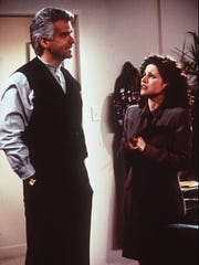 "John O'Hurley (left) as J. Peterman in ""Seinfeld."""