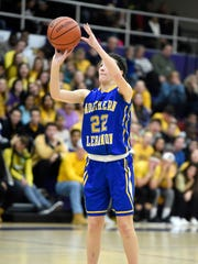 Northern Lebanon's Zara Zerman successfully launches a three point shot that helped the Vikings pull away for a 49-35 win over Lancaster Catholic Friday night.