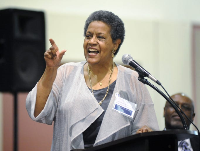 Myrlie Evers emphasizes the need for men to be proactive in addressing their health concerns while speaking at a dedication ceremony on Friday for the University of Mississippi Medical Center's Myrlie Evers-Williams Institute for the Elimination of Health Disparities at the Jackson Medical Mall.