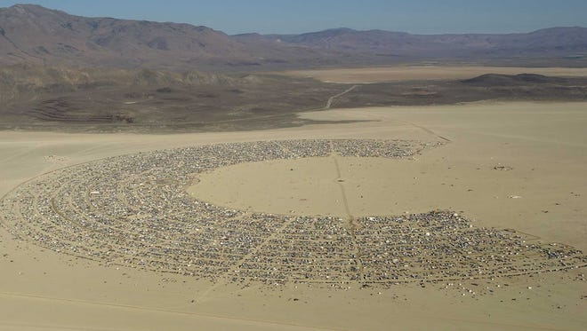 The Black Rock Desert as seen from the air during the 1997 Burning Man Festival.