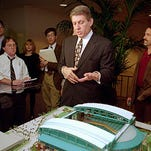 Jerry Colangelo talks about the presentation to Major League Baseball owners about Phoenix getting a franchise after meetings on Nov. 1, 1994, in Chicago. Colangelo showed reporters a model of a stadium that will be built if Phoenix is awarded a franchise.