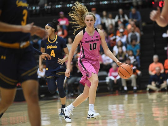 Oregon State guard Katie McWilliams (10) looks for