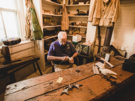 A master decoy carver demonstrates his art at the Atlantic