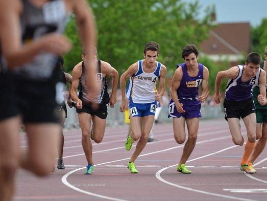 St. Cloud Cathedral's Nicholas Golebiowski runs in the final round 3200 meter run of the state high school boys' and girls' track and field meet Friday, June 6 at Hamline University in St. Paul. Golebiowski took second place with a time of 9:39.12.