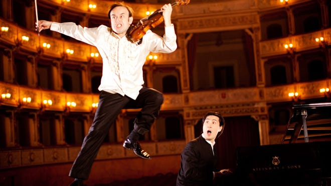 Childhood friends Hyung-ki Joo, on piano, and violinist Aleksey Igudesman are following in the comic-classical footsteps of P.D.Q. Bach and Victor Borge. They play Caramoor on July 13.