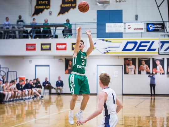New Castle's Luke Bumbalough shoots past Delta's defense
