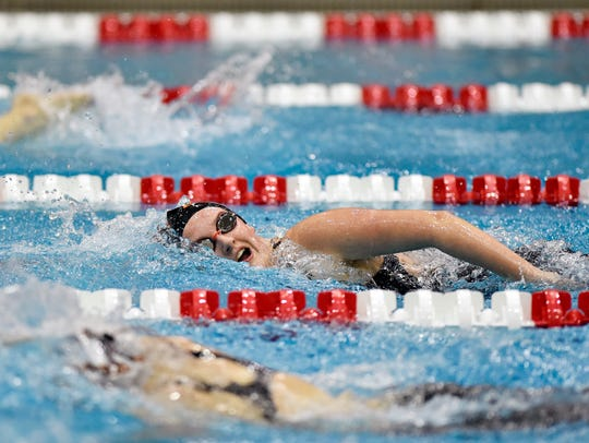 Northeastern's Lauren Mummert, pictured swimming the girls' 500-yard freestyle in the 2018 district championships, and her sister Katie are among the Bobcats' three sets of twins.