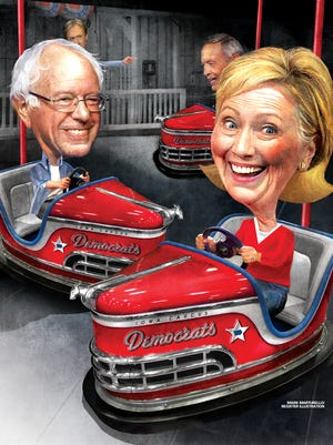 Both Hillary Clinton and Bernie Sanders have grown in popularity in Iowa, and the gap between them has slimmed to 7 percentage points, 48 percent to 41 percent, without Joe Biden in the race, a new Des Moines Register/Bloomberg Politics Iowa Poll shows.