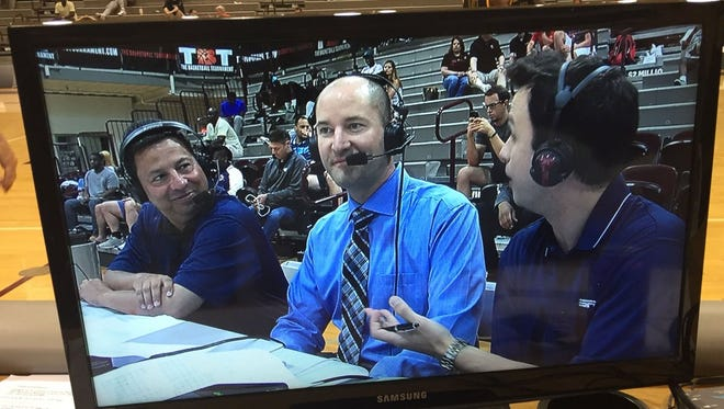 Ball State professor Nick Elam, center, discusses the Elam Ending with broadcasters Joe Lundardi, left, and Matt Martucci during an ESPN telecast of last year's TBT on June 17, 2017.