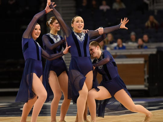 Cathedral Dance Team members perform during Minnesota State Dance Team Class 2A Jazz finals Friday, Feb. 16, at the Target Center in Minneapolis.