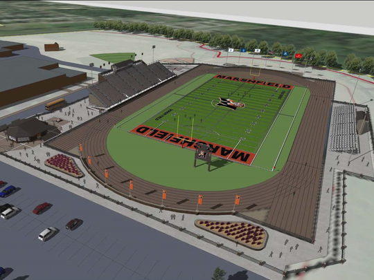 A rendering of the planned sports facility at Marshfield High School.