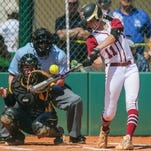 Tate's Casey McCrackin (Auburn softball signee) smacks a hit during last year's 7A semifinal game. Tate aims for more success this postseason.