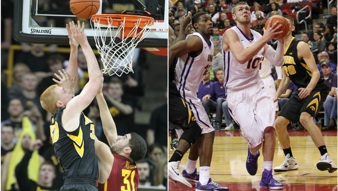 From left to right: Iowa's Aaron White, Iowa State's Georges Niang and Northern Iowa's Seth Tuttle.