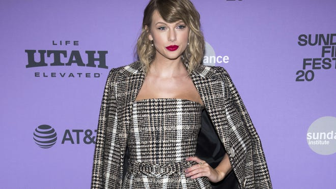 """This Jan. 23, 2020 file photo shows Taylor Swift at the premiere of """"Taylor Swift: Miss Americana"""" in Park City, Utah."""
