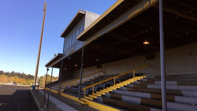 Philomath High School athletic stadium is shown in Philomath, Ore., Sept. 12, 2016.