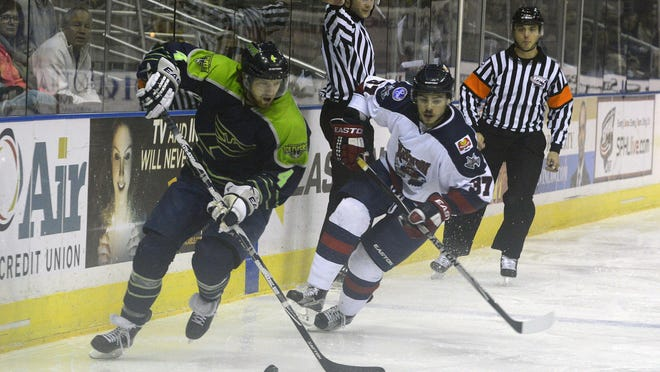 The Ice Flyers' Junior Harris, shown in Saturday's game against guides Macon's Michael Willis, was among four players thwarted in the overtime shootout in Sunday's 3-2 loss against the Mayhem at the Pensacola Bay Center.