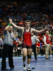 Jacob Dykes of Iowa City, City High celebrates a 7-2 win over Reece Bowlin of Indianola during their class 3A 195 pound championship match at Wells Fargo Arena on Saturday, Feb. 17, 2018, in Des Moines.