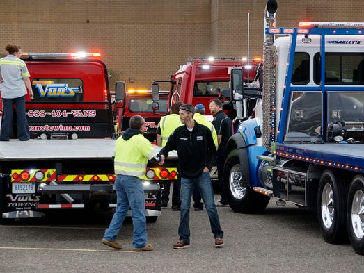 Towing and recovery drivers gathered at Westland Mall