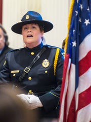 "Colchester Police Chief Jennifer Morrison sings ""America"