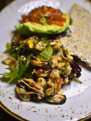 Marinated mussels with avocados at Starry Night Cafe