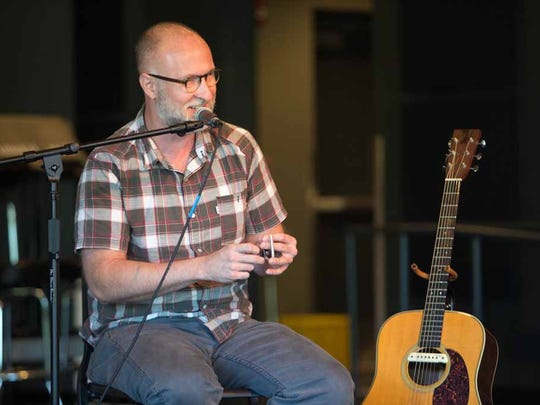 Musician Bob Mould speaks Saturday, Oct. 4, 2014, during a songwriting workshop at the Des Moines Music Coalition's Music University at Drake University in Des Moines. Mould hits the Wooly's stage in September.