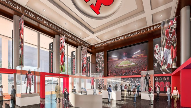 A rendering of the new look of Rutgers athletics after it upgrades facilities through the B1G Build campaign.
