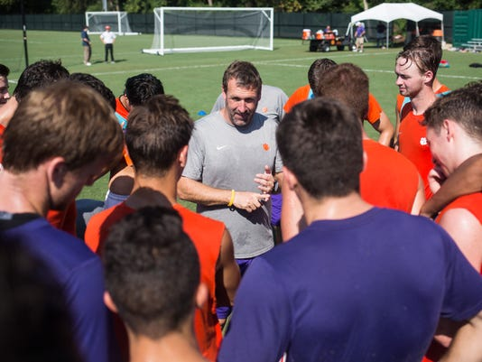 Mike Noonan addresses Clemson soccer team