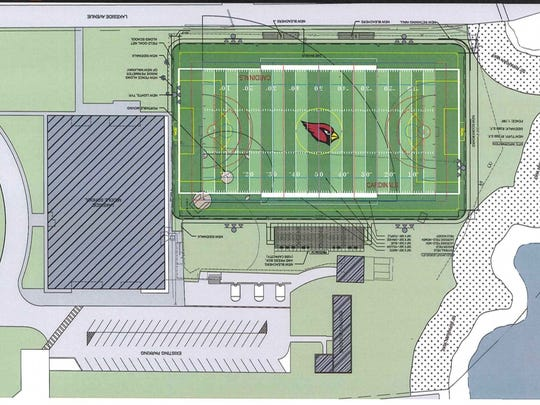An architectural layout of  synthetic turf field plans for Lakeside Field in Pompton Lakes.