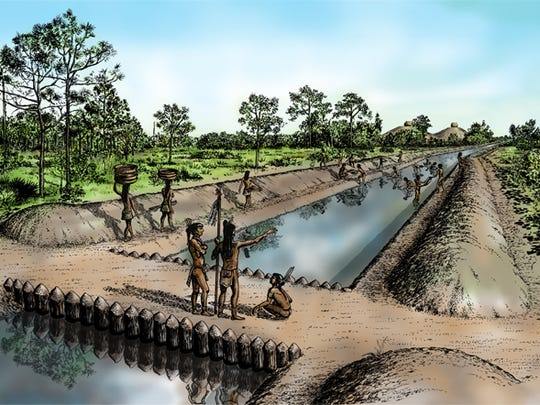An artist depiction shows the Calusa Indians and their Pine Island Canal.