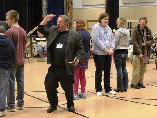 Gary Glazner, founder of the New-York based Alzheimer's Poetry Project, recites poetry with a group from RCS Empowers on Wednesday, Jan. 18, 2017, in Sheboygan.
