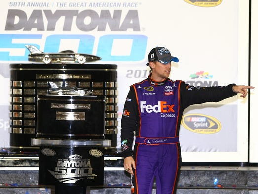 Feb. 21: Denny Hamlin wins the Daytona 500 at Daytona