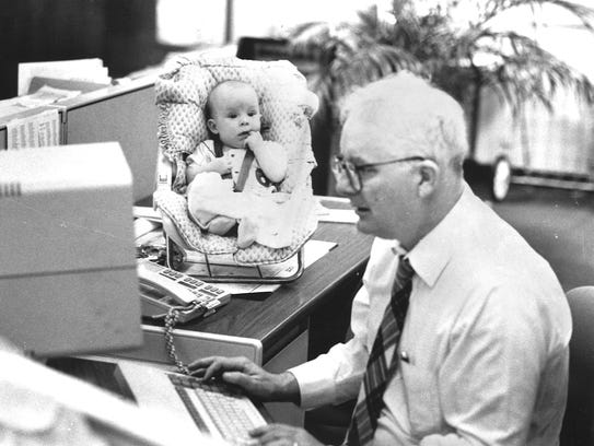 April 1989: Bill Cotterell works at his desk with his