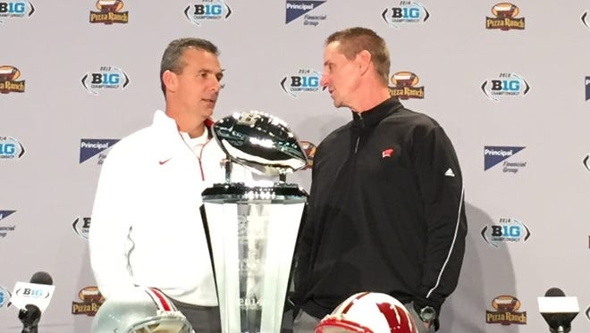 Ohio State's Urban Meyer, left, and  Wisconsin's Gary Andersen were on the same coaching staff at Utah.