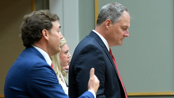 Tony Swafford, attorney for Brentwood Academy,left, and Justin Gilbert, attorney for the Does, address the court during the 