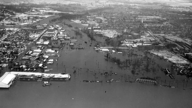 The Ohio River flooded much of Evansville on Jan. 26, 1937.