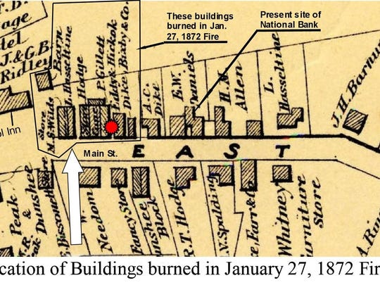 Map shows location of buildings burned in Bristol fire of Jan. 27, 1872.