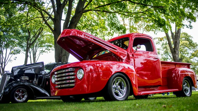 A classic Ford F-1 truck is displayed during the Hot Wheels Weekend car show Saturday, August 27, 2016 at Marysville City Park.