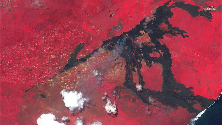 An infrared image show the damage caused by the Kilauea