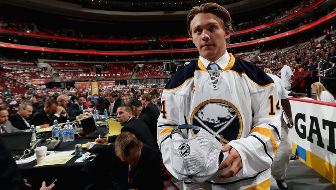 Brendan Lemieux meets his team after being selected 31st by the Buffalo Sabres on Day 2 of the 2014 NHL Draft.