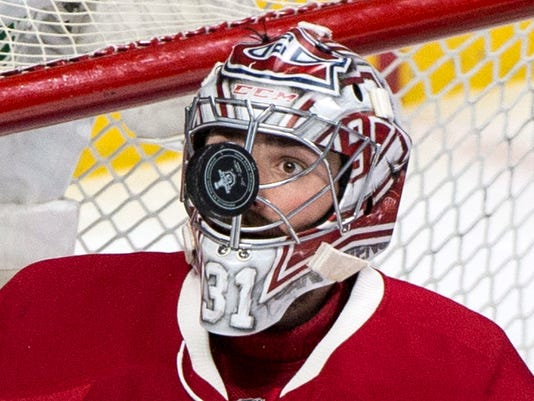 Montreal Canadiens goaltender Carey Price keeps a close eye on the puck during the third period against the New York Rangers in Game 5 of a first-round NHL hockey Stanley Cup playoff series, Thursday, April 20, 2017, in Montreal. (Paul Chiasson/The Canadian Press via AP)