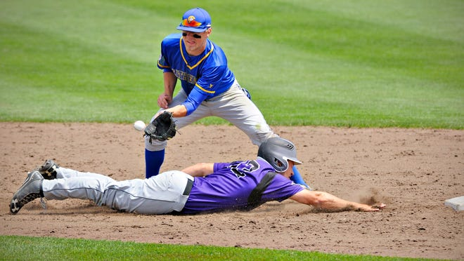 Cathedral's Steven Neutzling gets the throw just in time to tag out Glencoe-Silver Lake's Nolan Lepel as he dive back into second base to end the fourth inning of the state 2AA semifinal  game at Dick Putz Field Friday, June 13. Cathedral beat Glencoe-Silver Lake 6-0.