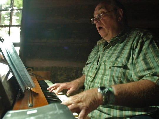 The late Paul Dieke of Des Moines played the piano for many years at the old-fashioned hymn sing held daily during the Iowa State Fair. This photo was taken in 2007.