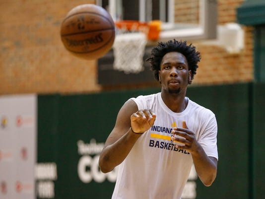 Indiana native and Big Ten player of the year Caleb Swanigan takes part in drills during a pre-draft workout for the Indiana Pacers at Bankers Life Fieldhouse in Indianapolis, on Monday, May 15, 2017. (Mykal McEldowney/The Indianapolis Star via AP)