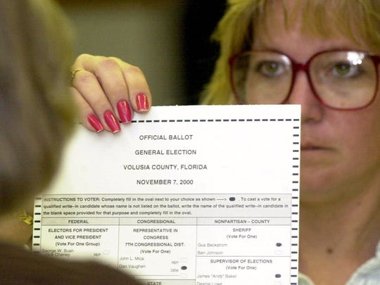 In the disputed 2000 presidential election, Phyllis Brodeur holds up a ballot for observers to see during the manual recount of ballots in Volusia County.