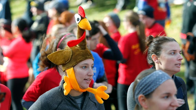 Turkey hats are a must at the Webster Turkey Trot.