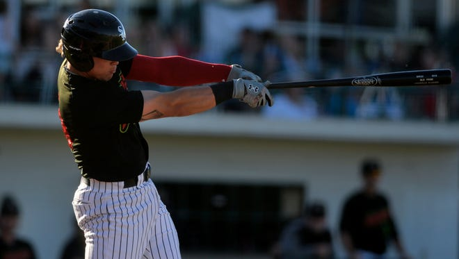 Great Falls Voyager first baseman Corey Zangari, seen batting in Wednesday's game against the Orem Owlz, ripped three of the Voyagers' five home runs Friday night as the Voyagers came back from 10 runs down to beat the Owlz 15-11.