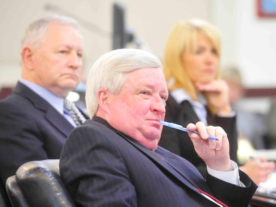 Deputy District Attorney General Tom Thurman, left, Assistant District Attorney Roger Moore and Assistant District Attorney Jan Norman listen during the first day of jury selection during the first Vanderbilt rape case trial in January 2015.
